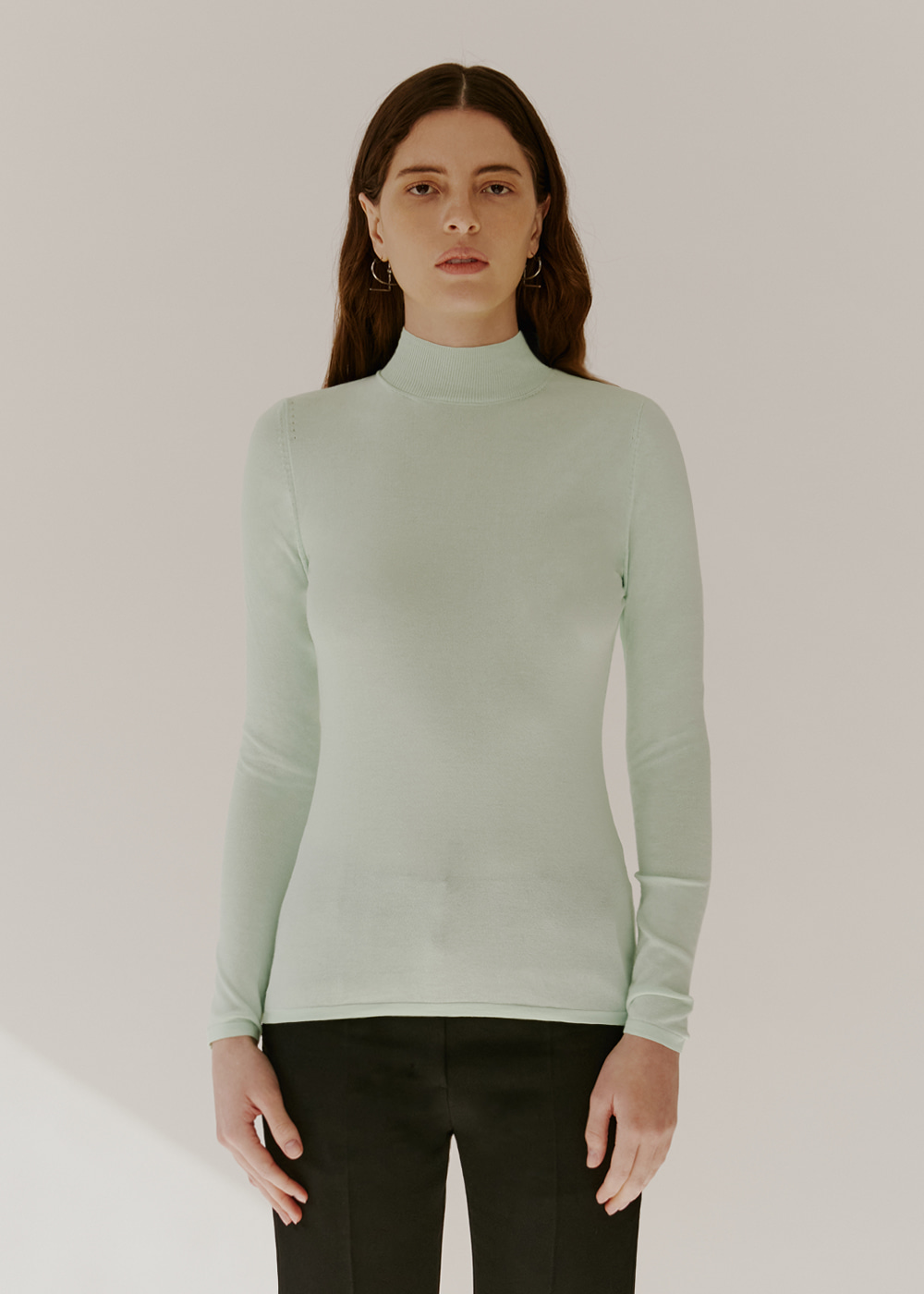 COTTON-BLEND KNIT - MINT CREAM
