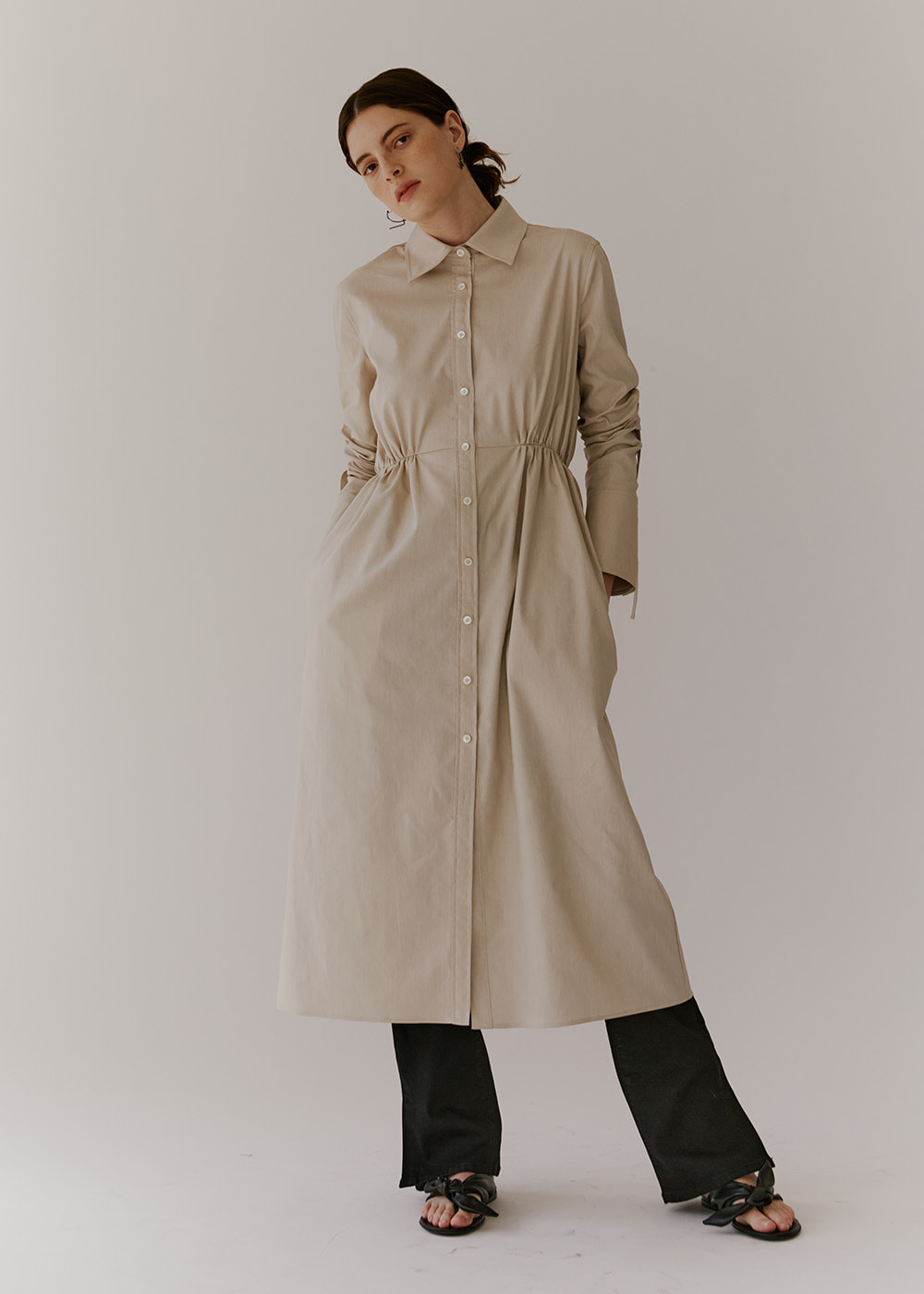 GATHERED-DETAIL SHIRT DRESS - BEIGE