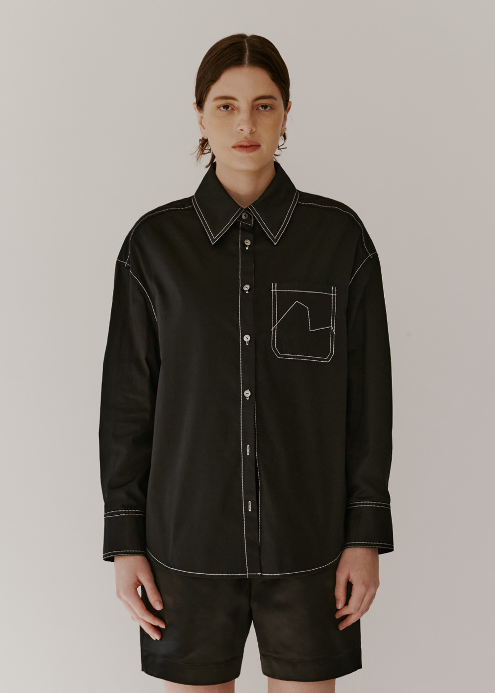 OVERSIZE ORGANIC COTTON SHIRT - BLACK
