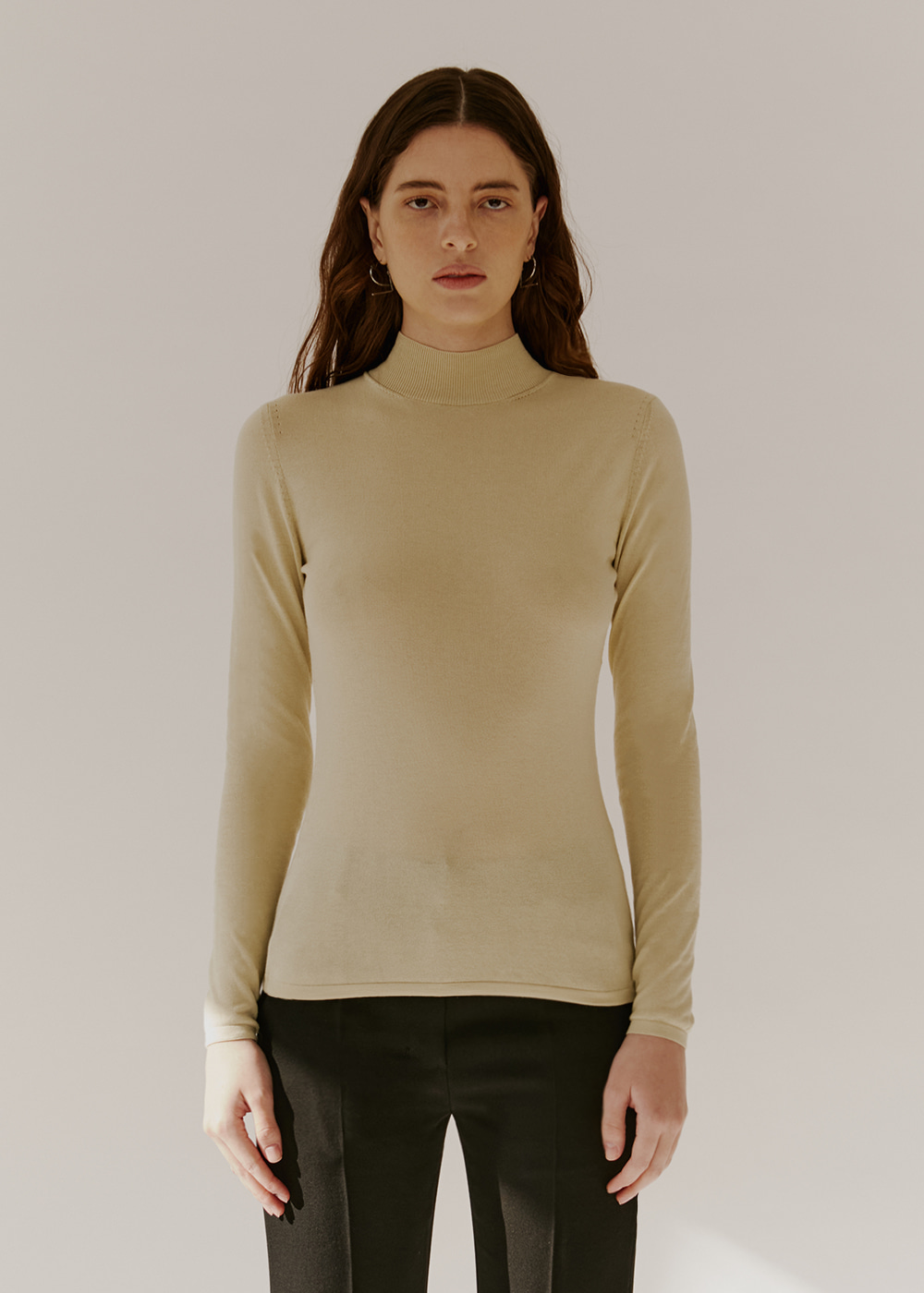 COTTON-BLEND KNIT - LIGHT OLIVE