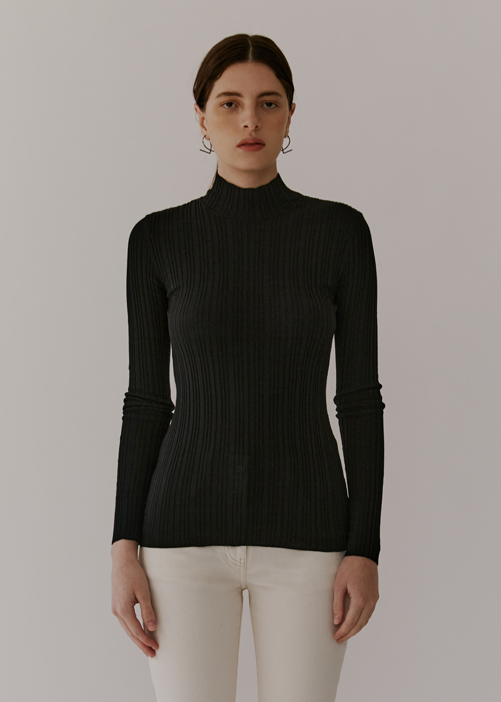 COTTON-BLEND RIBBED KNIT - BLACK