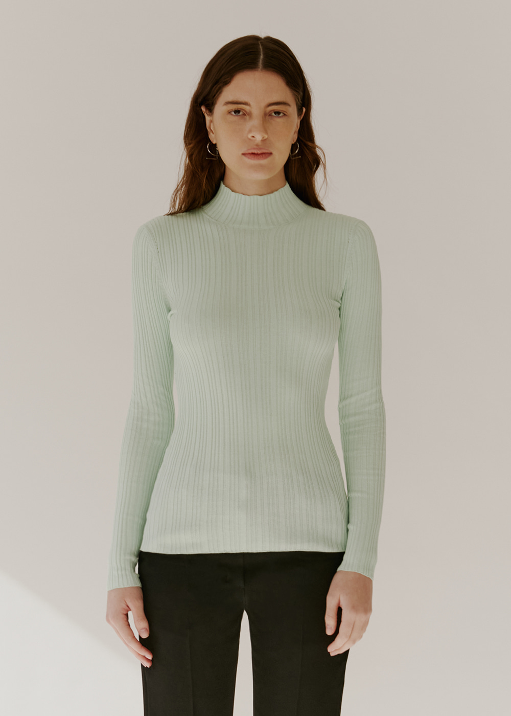 COTTON-BLEND RIBBED KNIT - MINT CREAM