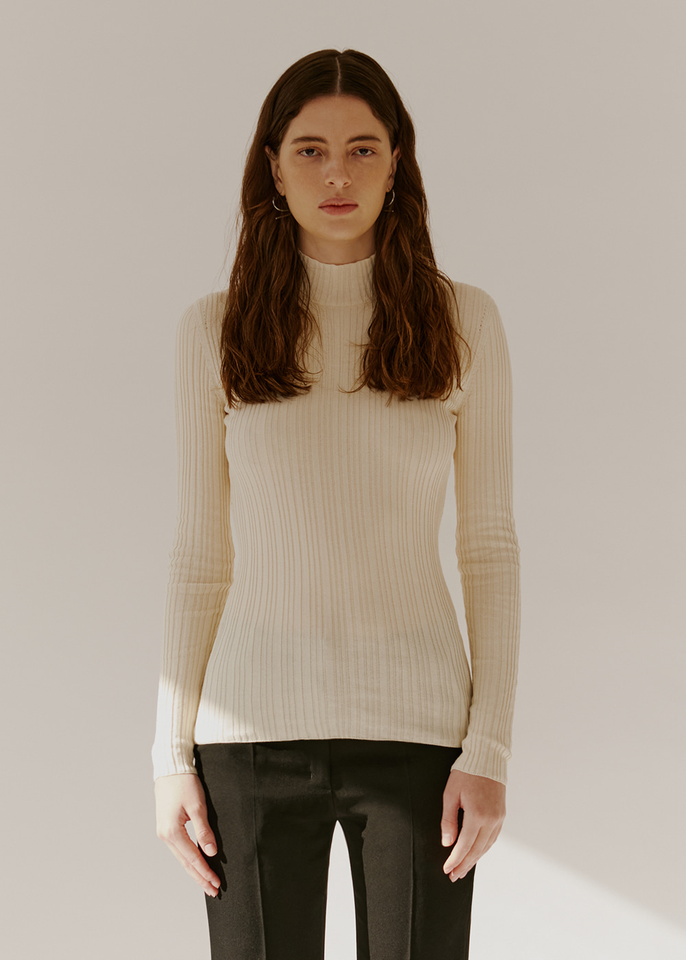 COTTON-BLEND RIBBED KNIT - CREAM