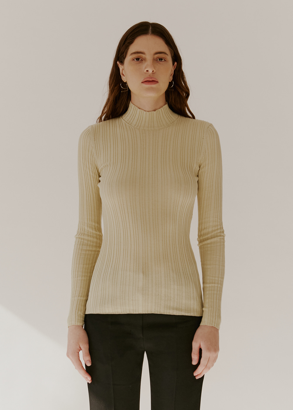 COTTON-BLEND RIBBED KNIT - LIGHT OLIVE