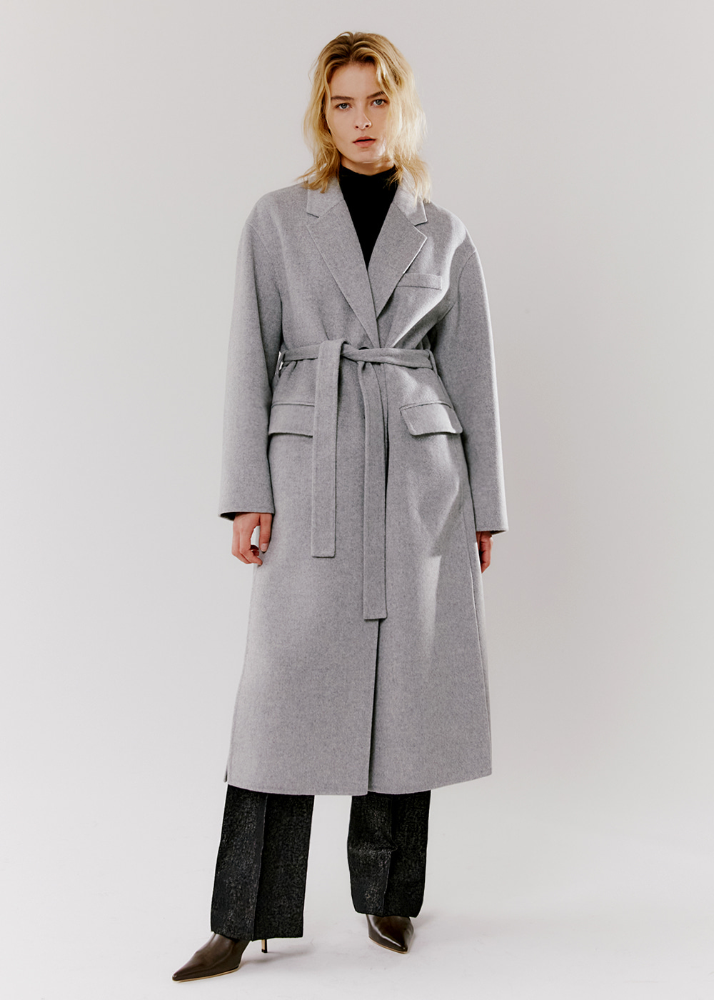 [ITALY]CASHMERE SINGLE-BREASTED COAT - LIGHT GREY